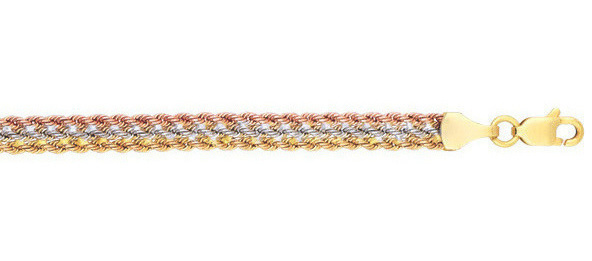 "7.5"" 10K Yellow, White & Rose Gold Polished Diamond Cut Tri-Color Rope Fancy Ladies Bracelet w/ Lobster Clasp"
