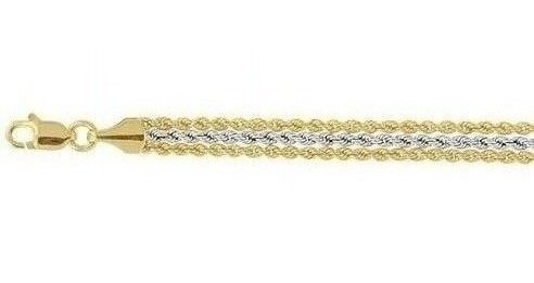 "7.25"" 10K Yellow & White Gold 1.65mm (0.06"") 3 Strand Rope Chain w/ White In The Middle Ladies Fancy Bracelet w/ Lobster Clasp"