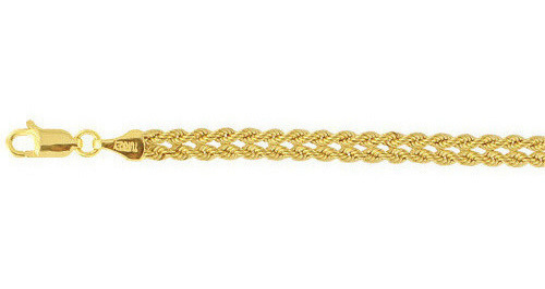 "7.25"" 10K Yellow Gold 4.40mm (3/16"") 2 Woven Braided Rope Chain Ladies Fancy Bracelet w/ Lobster Clasp"