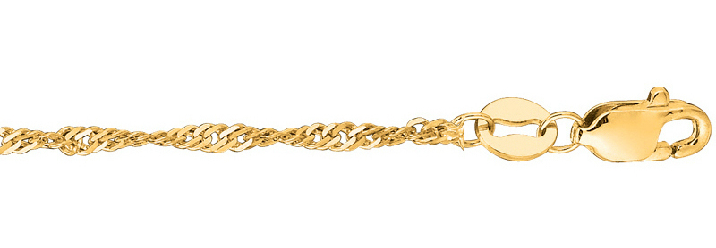 "24"" 10K Yellow Gold 1.5mm (0.06"") Classic Singapore Chain"