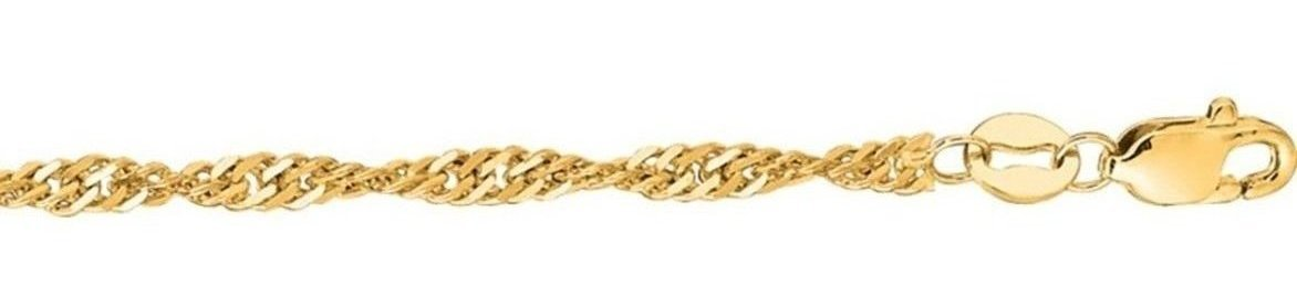 "24"" 10K Yellow Gold 1.7mm (0.07"") Classic Singapore Chain"