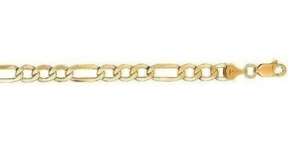 "24"" 10K Yellow Gold 5.40mm (1/5"") Polished Diamond Cut Figaro Lite Link w/ Lobster Clasp"