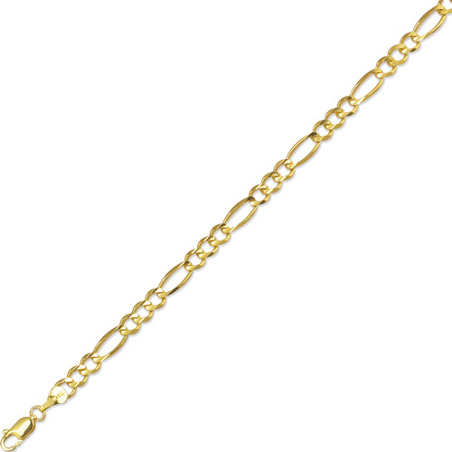 "20"" 10K Yellow Gold 5.0mm (1/5"") Polished Diamond Cut Royal Figaro Link w/ Lobster Clasp"