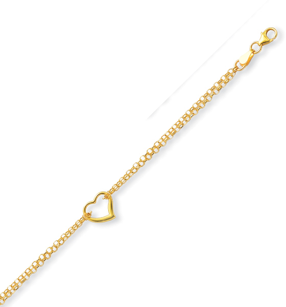 "10"" 10K Yellow Gold 1.9mm (0.07"") Polished Double Strand Rolo Chain w/ 1 Station Open Heart Anklet w/ Pear Shape Clasp"