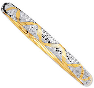 "7"" 10K Yellow & White Gold 6.0mm (1/4"") Polished Textured High Domed w/ Yellow Wavey & White Snake Skin Like Imprint Bangle"