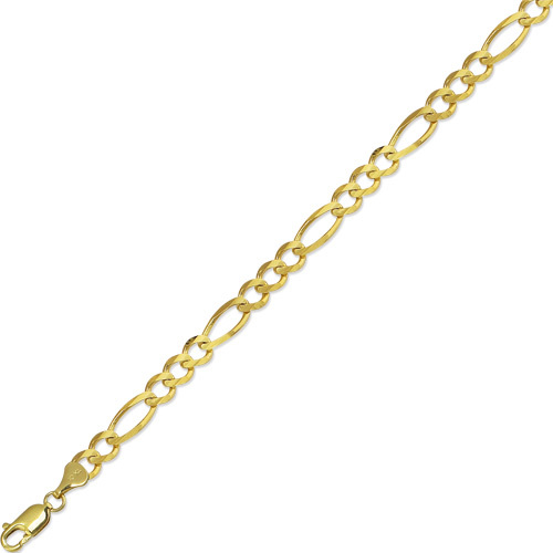 "22"" 10K Yellow Gold 7.0mm (2/7"") Polished Diamond Cut Royal Figaro Link w/ Lobster Clasp"