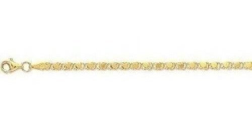 "10"" 10K Yellow Gold 3.0mm (1/8"") Polished Diamond Cut Heart Link Anklet w/ Lobster Clasp"