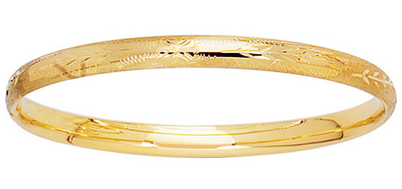 "5.5"" 14K Yellow Gold Baby Bangle Bracelet"
