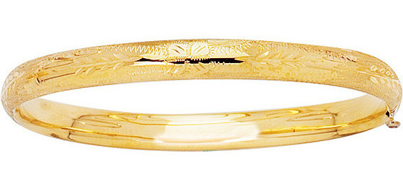 "5.5"" 14K Yellow Gold Shiny Baby Bangle Bracelet"