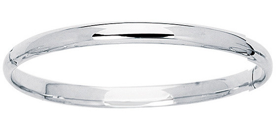 "5.5"" 14K White Gold 4.2mm (1/6"") Polish Domed Round Tube Children Bangle Bracelet w/ Clasp"