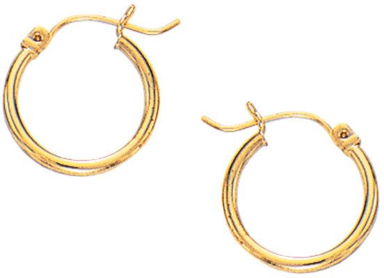 10K Yellow Gold Super Lite Tube Earringss