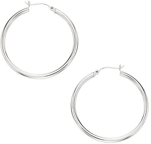 "10K White Gold 2x30mm (0.08""x1.18"") Hoop Earrings"
