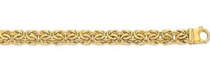 "7.25"" 10K Yellow Gold 7.0mm (2/7"") Polished Diamond Cut Byzantine Collection Bracelet w/ Fancy Lobster Clasp"