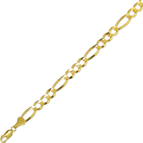 "8.5"" 10K Yellow Gold Royal Figaro Chain Bracelet"