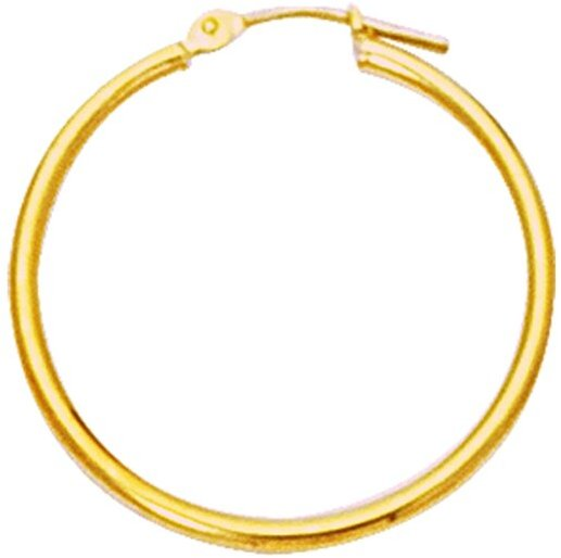 "10K Yellow Gold 2.0x40mm (0.08""x1.57"") Shiny Round Hoop Earrings"