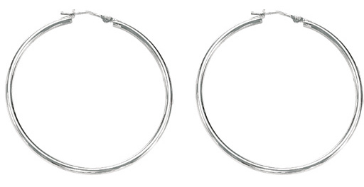 "10K White Gold 1.00x30mm (0.04""x1.18"") Light Tube Hoop Earrings"