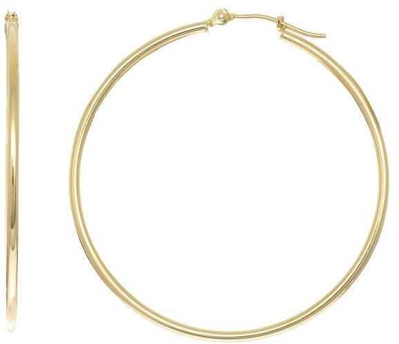 "10K Yellow Gold 1.0x40mm (0.04""x1.57"") Light Tube Hoop Earrings"