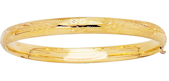 "5.5"" 14K Yellow Gold 4.8mm (3/16"") Texture Diamond Cut Domed Round Tube Children Bangle Bracelet w/ Clasp"