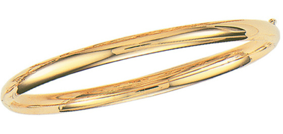 "8"" 14K Yellow Gold 5.0mm (1/5"") Plain Polished Round Domed Classic Bangle Bracelet w/ Clasp"