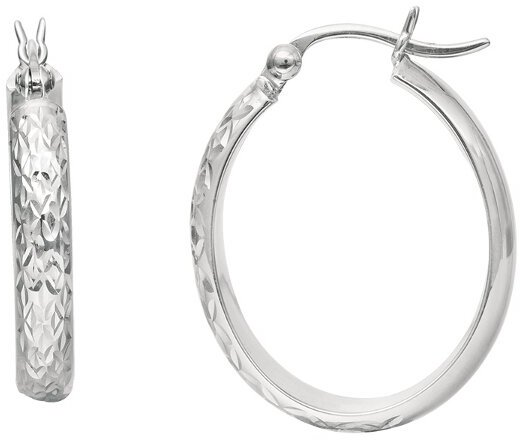 10K White Gold Polished Diamond Cut Fashion Sparkle Earrings
