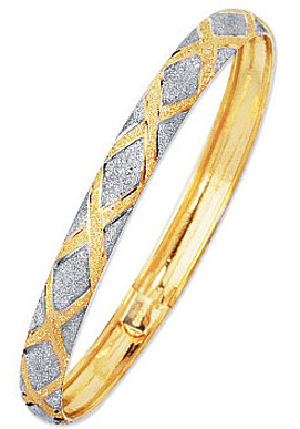 "7"" 10K Yellow & White Gold 6.0mm (1/4"") Polished Textured High Domed w/ White Diamond Shape Pattern Bangle"