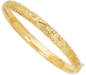 "7"" 14K Yellow Gold 6.30mm (1/4"") Polished Texture Diamond Shape Pattern Top Round Tube Domed Fancy Bangle Bracelet w/ Clasp"