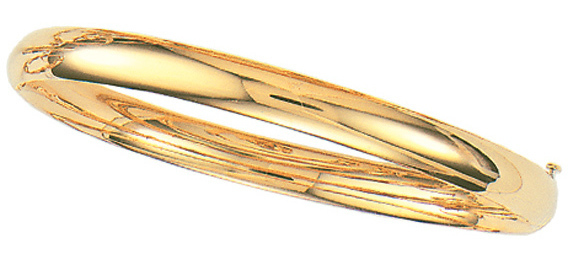 "8"" 14K Yellow Gold 6.0mm (1/4"") Plain Polished Round Domed Classic Bangle Bracelet w/ Clasp"