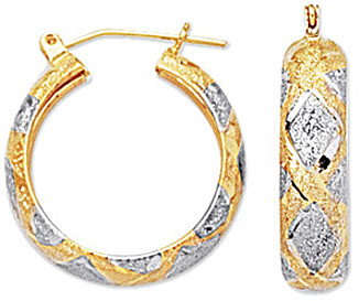 "10K Yellow & White Gold 6.0mm (1/4"") Polished Textured High Domed w/ White Diamond Shape Pattern Hoop Like Earrings"