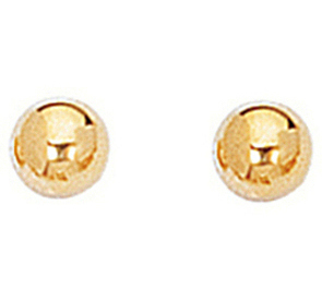 "14K Yellow Gold 4.0mm (1/6"") Shiny Ball Post Earrings"
