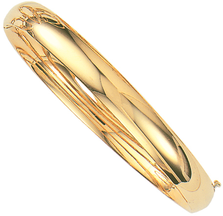 "8"" 14K Yellow Gold 8.0mm (1/3"") Plain Polished Round Domed Classic Bangle Bracelet w/ Clasp"