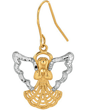 10K Yellow & White Gold Diamond Cut Polished Yellow Angel w/ White Wing Fancy Dangle Earrings