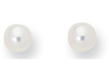 "14K Yellow Gold Shiny 5.0mm (1/5"") White Cultured Pearl Post Earrings"