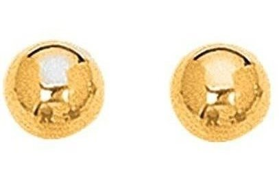 "14K Yellow Gold 6.0mm (1/4"") Shiny Ball Post Earrings"