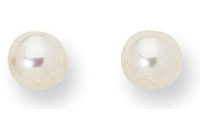 "14K Yellow Gold Shiny 6.0mm (1/4"") White Cultured Pearl Post Earrings"