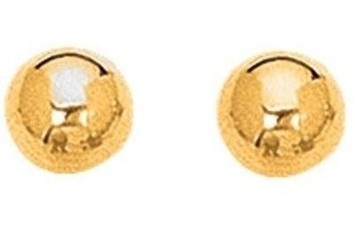 "14K Yellow Gold 7.0mm (2/7"") Shiny Ball Post Earrings"