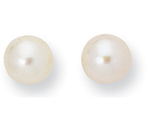"14K Yellow Gold Shiny 8.0mm (1/3"") White Cultured Pearl Post Earrings (BT8MM)"