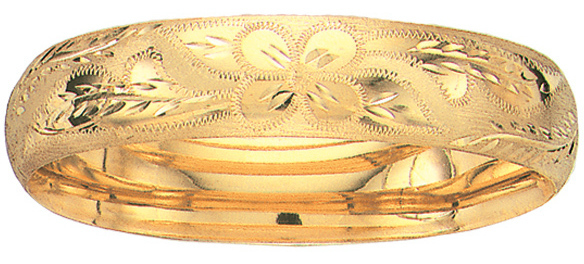 "8"" 14K Yellow Gold 13.5mm (1/2"") Flourentine Round Domed Classic Bangle Bracelet w/ Clasp"