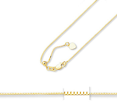 "22"" 14K Yellow Gold .07mm (0.003"") Polished Diamond Cut Adjustable Box Chain w/ Lobster Clasp"