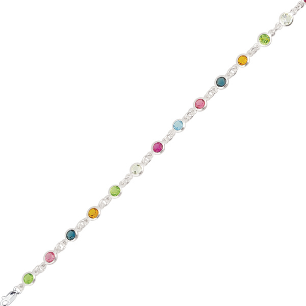 "11"" Rhodium Plated 925 Sterling Silver Shiny Oval Link & Round Multi-color Crystal Anklet w/ Lobster Clasp - DISCONTINUED"