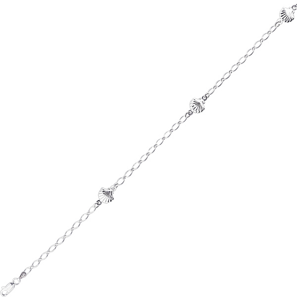 "9"" Rhodium Plated 925 Sterling Silver Shiny Oval Link & Station Shell Charm Anklet w/ Lobster Clasp"