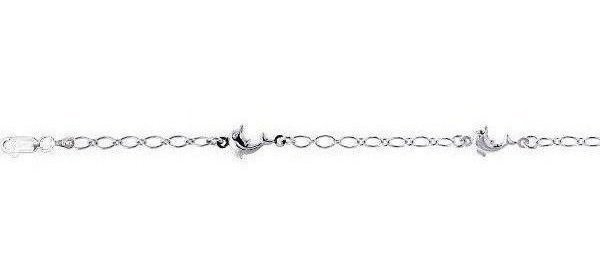 "10"" Rhodium Plated 925 Sterling Silver Shiny Oval Link & Station Dolphin Charm Anklet w/ Lobster Clasp"