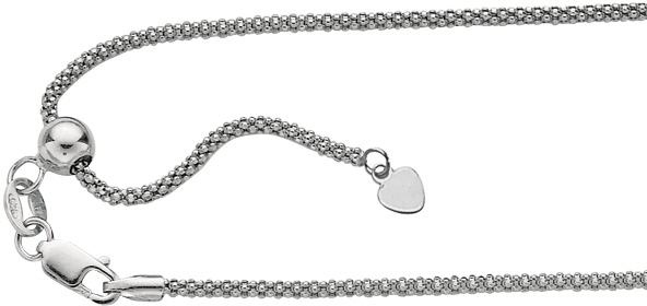 "22"" Rhodium Plated 925 Sterling Silver 0.8mm (0.03"") Diamond Cut Adjustable Popcorn Chain w/ Lobster Clasp"