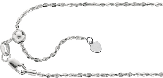 "22"" Rhodium Plated 925 Sterling Silver 1.0mm (0.04"") Diamond Cut Adjustable Piatto Chain w/ Lobster Clasp"