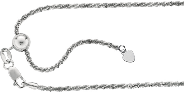"22"" Rhodium Plated 925 Sterling Silver 1.5mm (0.06"") Diamond Cut Adjustable Sparkle Chain w/ Lobster Clasp"