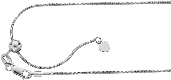"22"" Rhodium Plated 925 Sterling Silver 0.8mm (0.03"") Diamond Cut Adjustable Snake Chain w/ Lobster Clasp"