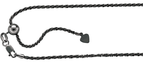 "22"" Black Ruthenium Plated 925 Sterling Silver 1.5mm (0.06"") Diamond Cut Adjustable Sparkle Chain w/ Lobster Clasp"