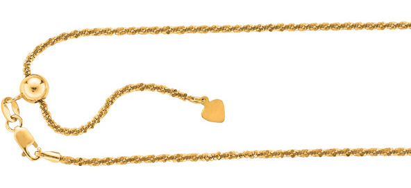 "22"" Gold Plated 925 Sterling Silver 1.5mm (0.06"") Diamond Cut Adjustable Sparkle Chain w/ Lobster Clasp"