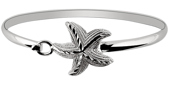 "7"" 925 Sterling Silver Rhodium Plated Shiny Textured Star Fish Top Bangle Bracelet"