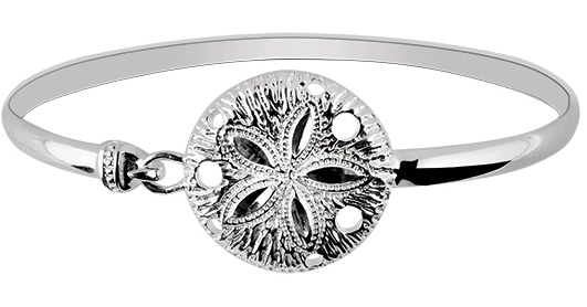 "7"" 925 Sterling Silver Rhodium Plated Shiny Textured Sand Dollar Top Bangle Bracelet"