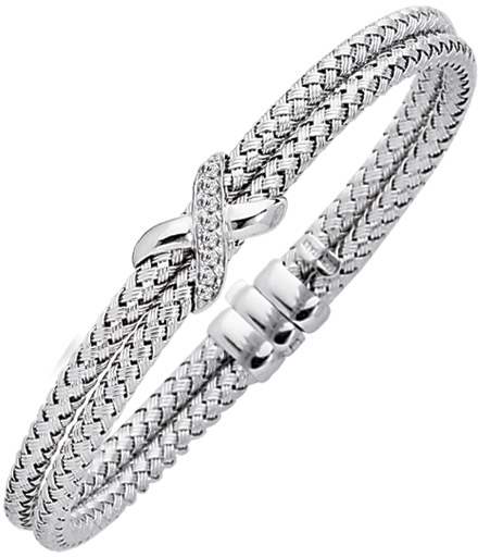 "7.25"" 925 Sterling Silver Rhodium Plated 3.8mm (1/7"") Shiny Double Row Basketweave 0.08ctw Diamond One ""x"" Bangle Bracelet w/ Fancy Clasp"